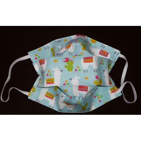 Masque en tissu lavable réversible enfant LAMA