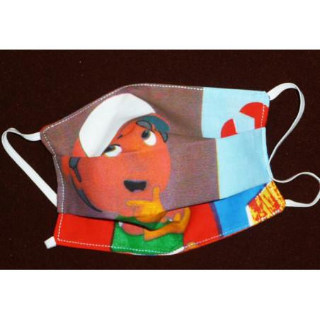 Masque en tissu lavable réversible enfant MANNY ET SES OUTILS