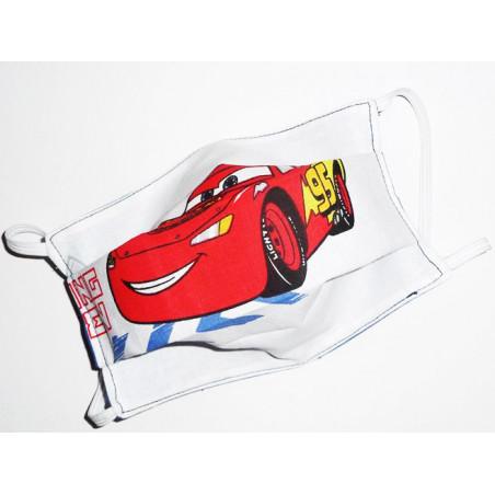 Masque en tissu lavable réversible enfant CARS (FLASH MCQUEEN)