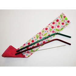 2 reusable washable stainless steel straws case and brush CHERRIES