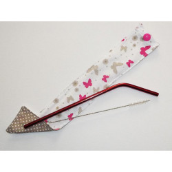 1 washable and reusable stainless steel case with straw and brush - BUTTERFLIES
