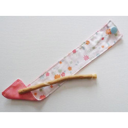 Siwak natural toothbrush and washable cotton pouch - FLOWERS