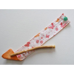 Siwak natural toothbrush and washable cotton pouch - BUTTERFLIES