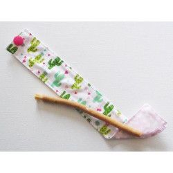 Siwak natural toothbrush and washable cotton pouch - CACTUS