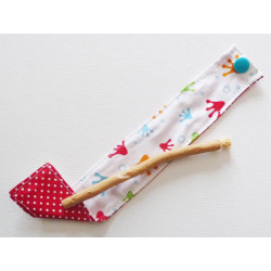 Siwak natural toothbrush and washable cotton pouch - FROGGY