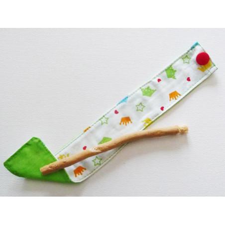 Brosse à dents naturelle Siwak et pochette en coton lavable - COURONNES
