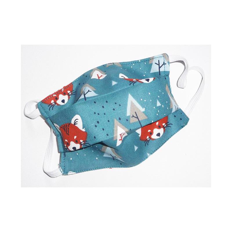 Masque en tissu lavable réversible enfant PANDA ROUX