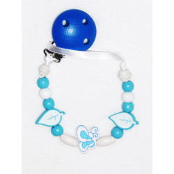 Attache-tétine en bois BLUE BUTTERFLY
