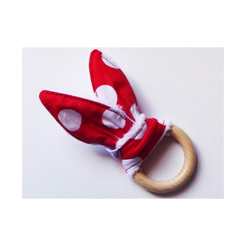 Rattle anillo de dentición oídos de conejo de algodón - guisantes -