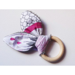 Rattle wooden teething ring with rabbit ears in cotton - GRAY METRIC -