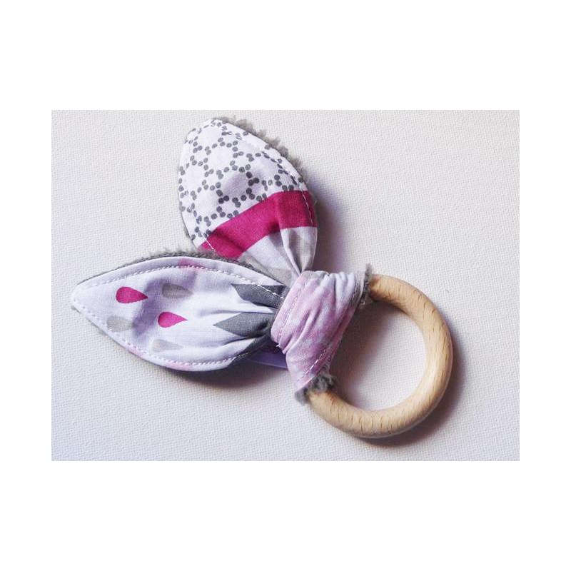 Hochet anneau de dentition en bois à oreilles de lapin en coton - GRIS METRIQUE -