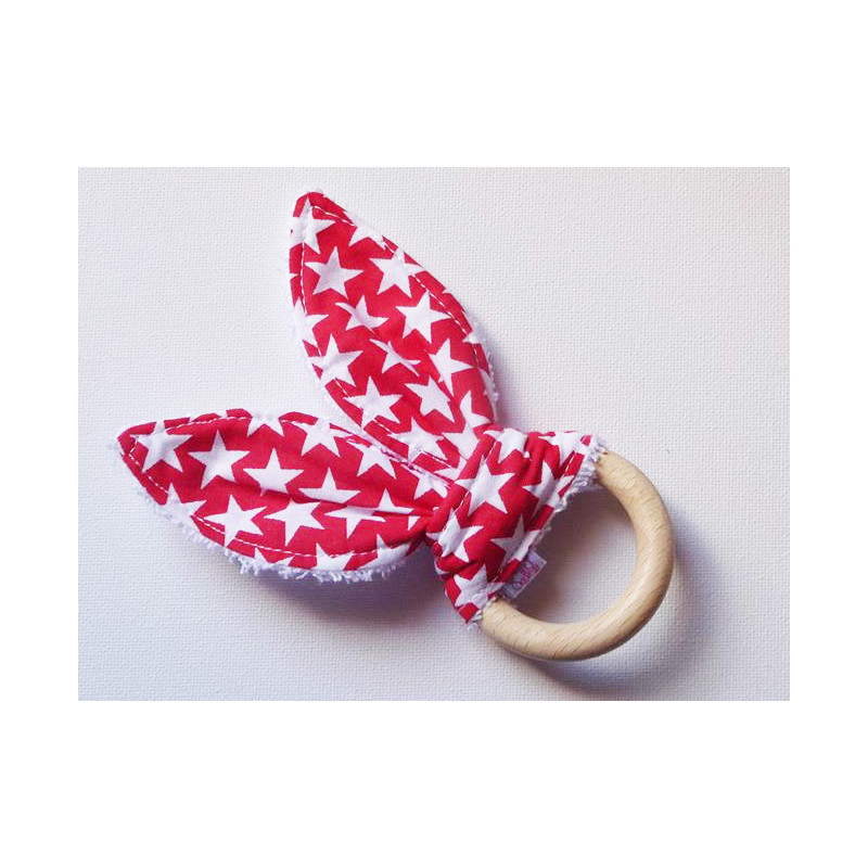 Wooden rabbit ears teething rattle ring - STARS RUBY - (with bell)