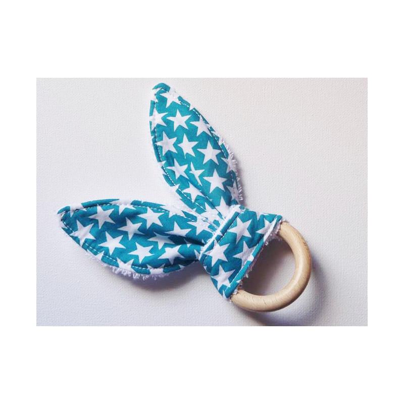 Hochet anneau de dentition en bois à oreilles de lapin en coton - ETOILES LAGON - (avec grelot)