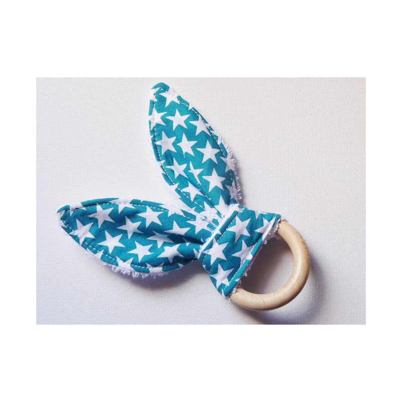 Rattle wooden teething ring with rabbit ears in cotton - STARS LAGON - (with bells)