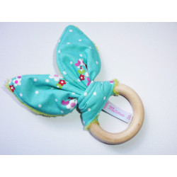 Rattle wooden teething ring with rabbit ears in cotton - SMALL FLOWERS -