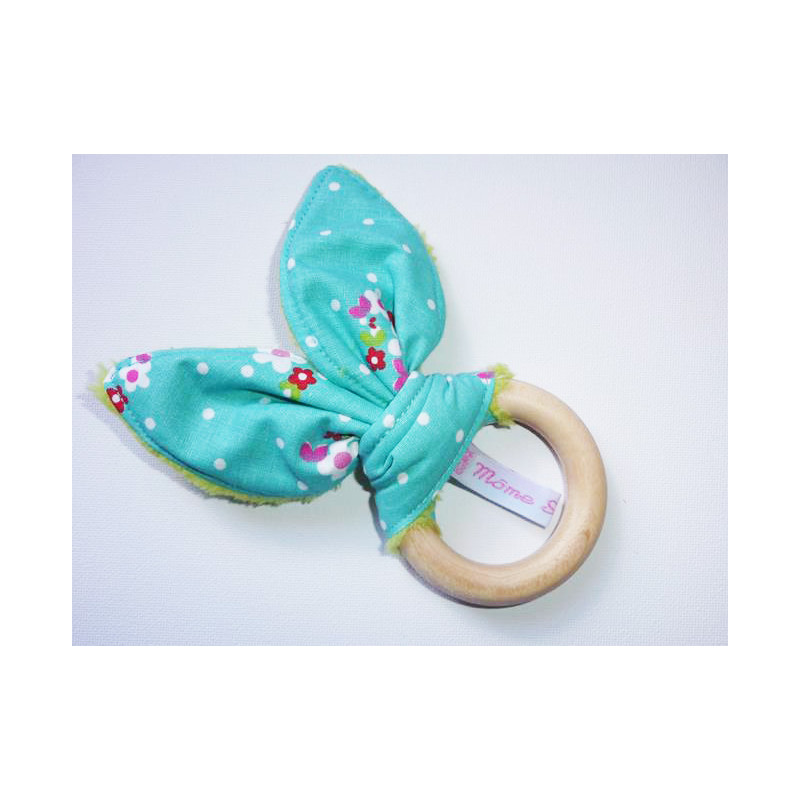 anillo Rattle dentición de madera con orejas de conejo de algodón - Flores pequeñas -