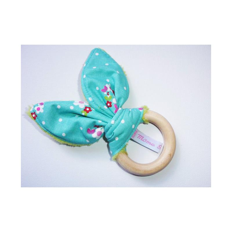 Hochet anneau de dentition en bois à oreilles de lapin en coton - PETITES FLEURS -