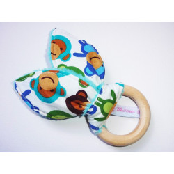 Rattle wooden teether with rabbit ears in cotton - WISTY BOY -
