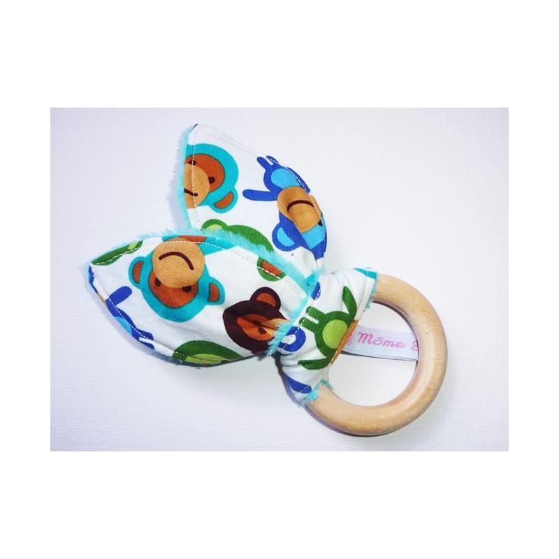 Hochet anneau de dentition en bois à oreilles de lapin en coton - WISTY BOY -