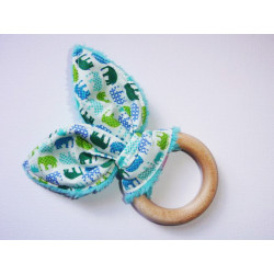 Rattle wooden teething ring with rabbit ears in cotton - ELEPHANTS -