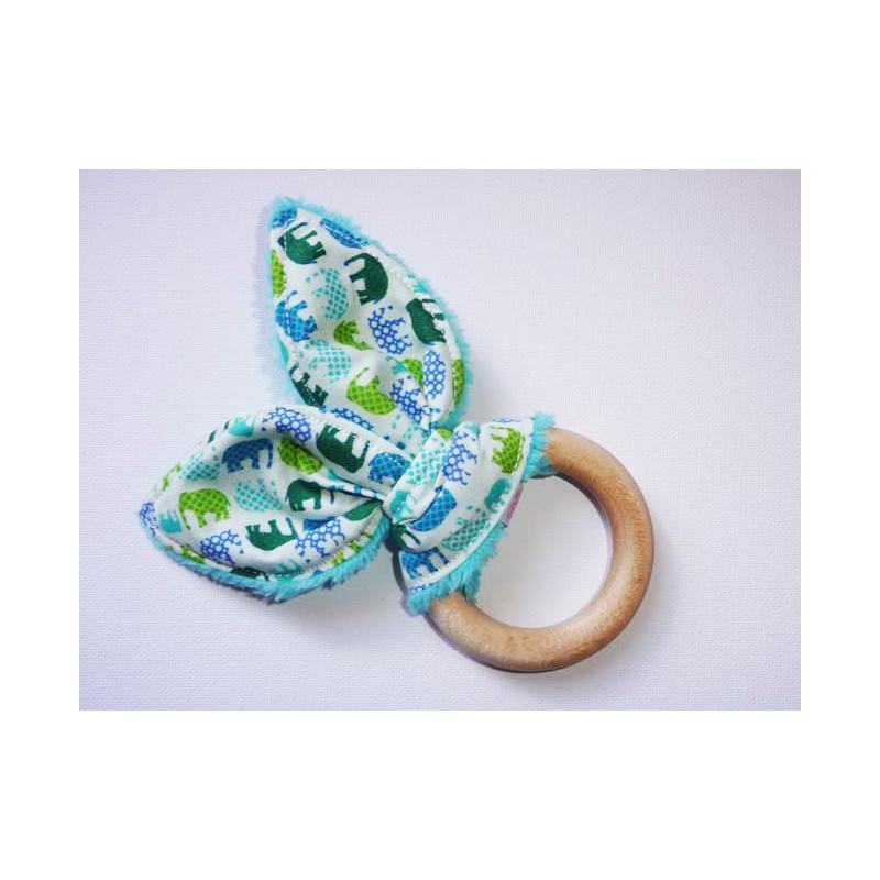 Hochet anneau de dentition en bois à oreilles de lapin en coton - ELEPHANTS -
