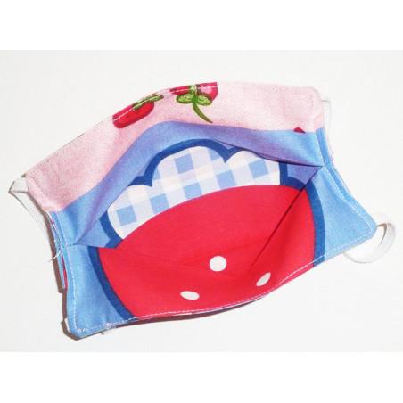 Masque en tissu lavable réversible enfant CHARLOTTE AUX FRAISES