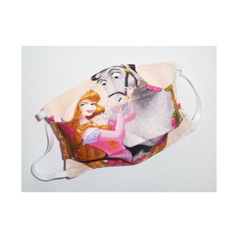 Masque en tissu lavable réversible enfant LA BELLE AU BOIS DORMANT (PRINCESSES)