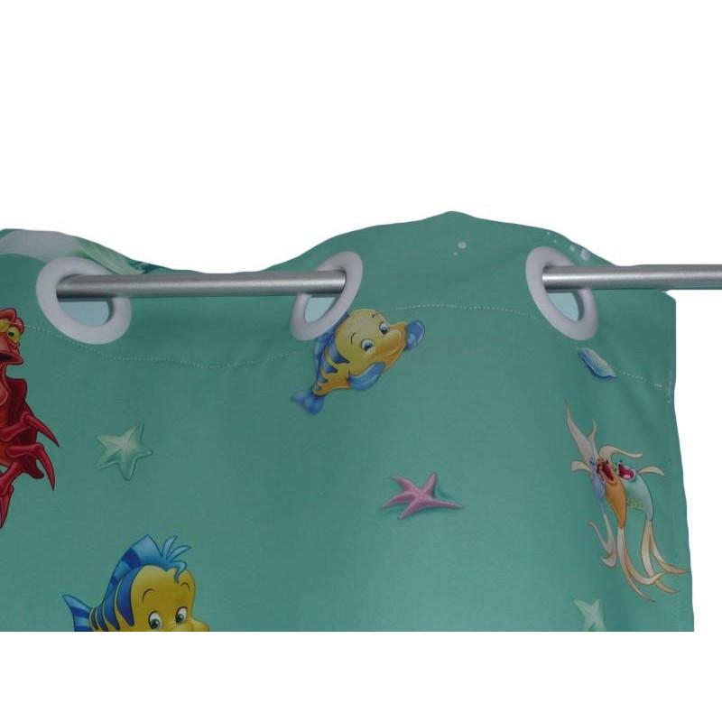 grand rideau occultant enfant ariel la petite sirene 145 x 225 cm. Black Bedroom Furniture Sets. Home Design Ideas