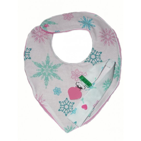 Ensemble bavoir bandana et attache-tétine PINK SNOW