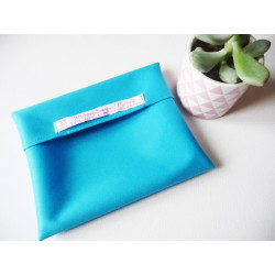 Washable and reusable waterproof pouch TURQUOISE