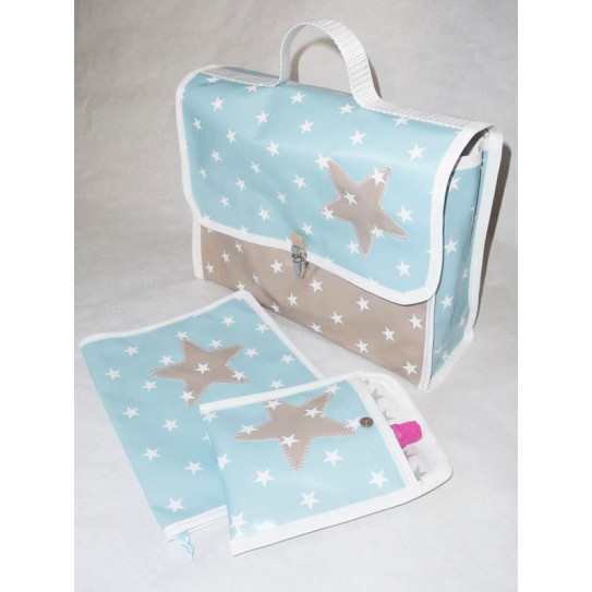 Maternal schoolbag and accessories BLUE WHITE