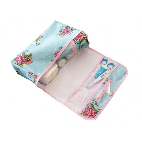 Sac à couches + porte biberon isotherme - ROSE DE PRINTEMPS -