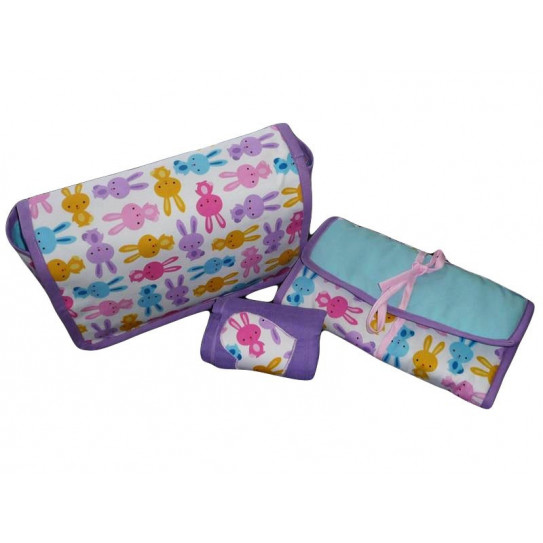 Changing bag + change mattress + baby blanket - RABBITS -