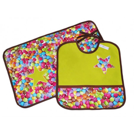 Children's bib and table set - GOURMANDISE -