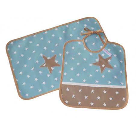 Bib kit and children's table set - BLUE WHITE -