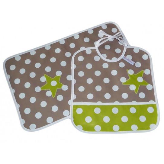 babero infantil kit y mantel - caimito -