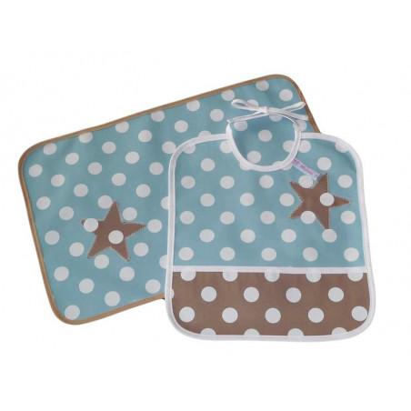 babero infantil kit y mantel - dulce estrella -
