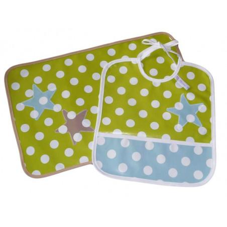 babero infantil kit y mantel - tres estrellas -