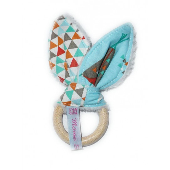Rattle wooden teething ring rabbit cotton - TIPI INDIAN -