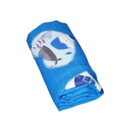 Lange baby blanket - WHALES -