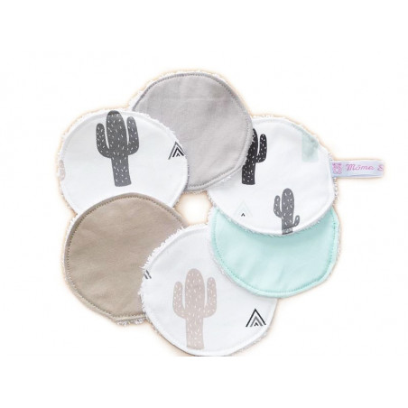 6 lingettes lavables - CACTUS -