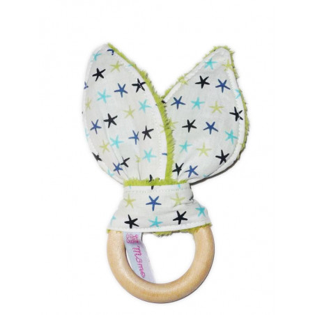 Wooden teething rattle ring with rabbit ears in cotton - LES ETOILES - (avec grelot)