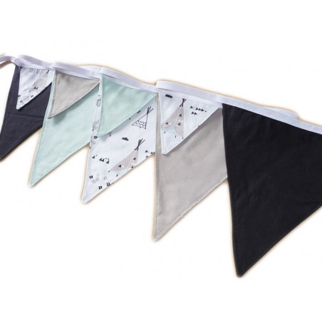 Cotton pennant garland - INDIAN TIPI - (2.95 m)