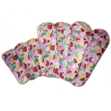 Pack 3 protèges-slip lavables + 4 serviettes hygiéniques lavables CUP CAKES