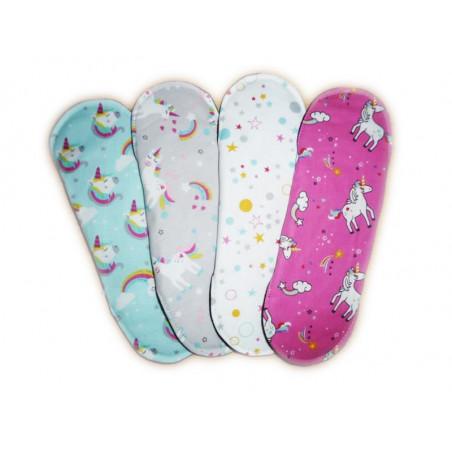 Set 4 serviettes hygiéniques lavables LICORNES (L)