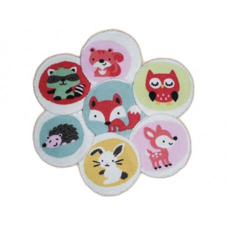 7 discos de limpieza orgánicos lavables ANIMALES